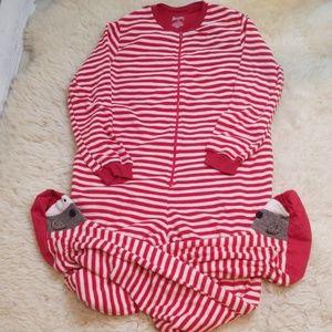 Nick & Nora Sock Monkey Fleece Pajamas New Medium